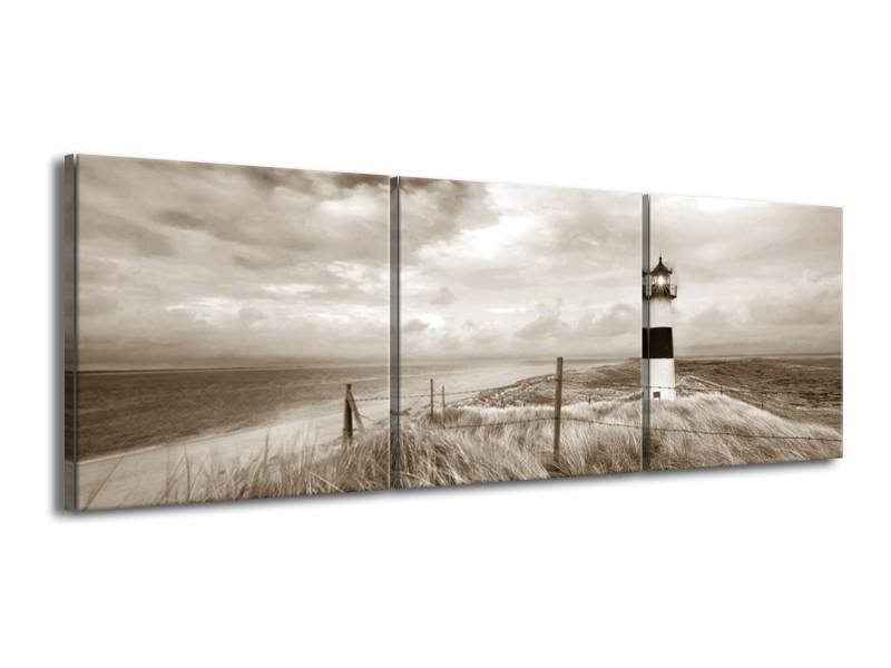 Canvas Schilderij Vuurtoren | Sepia | 150x50cm 3Luik