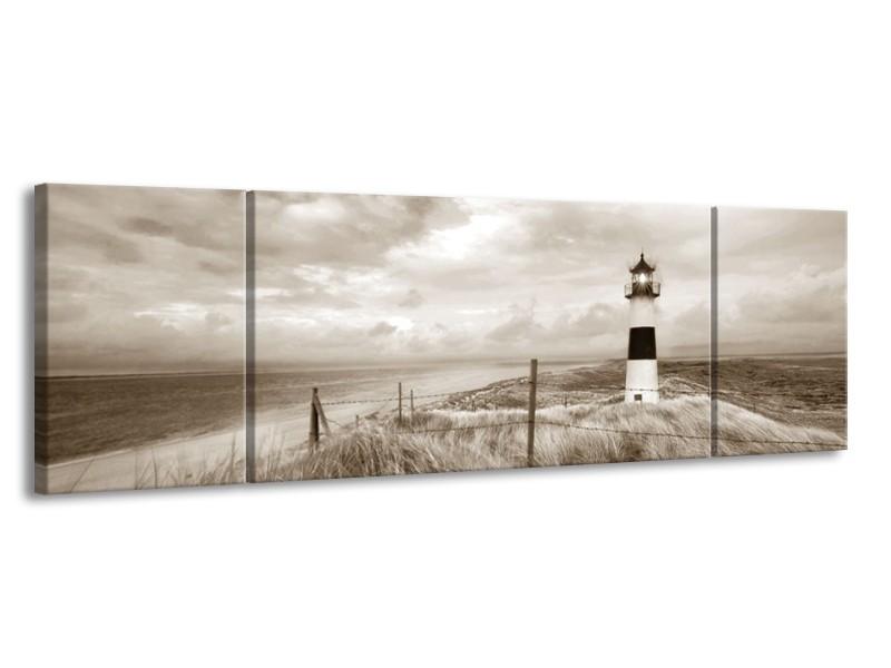 Canvas Schilderij Vuurtoren | Sepia | 170x50cm 3Luik