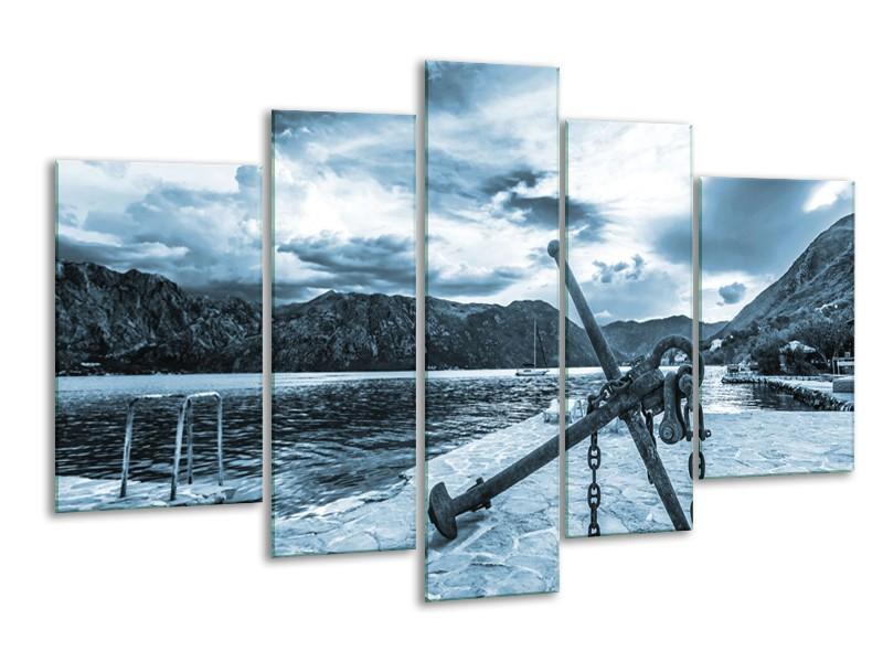 Glasschilderij Anker | Blauw, Grijs | 170x100cm 5Luik