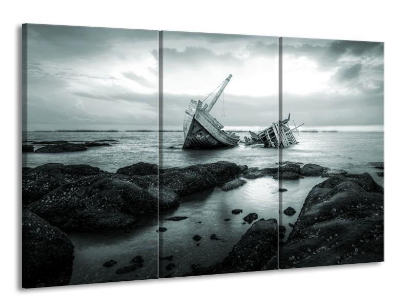 Canvas Schilderij Boot | Grijs, Groen | 165x100cm 3Luik