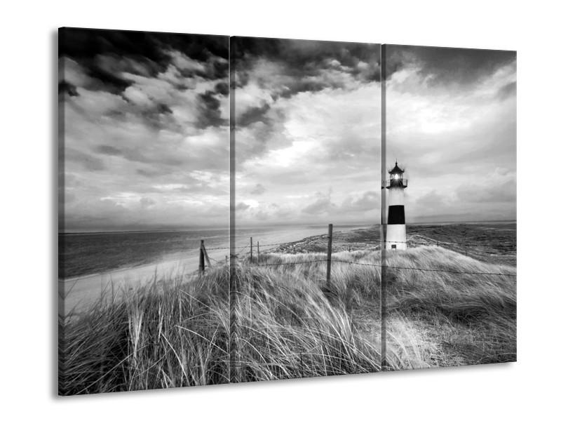 Canvas Schilderij Vuurtoren | Grijs, Zwart, Wit | 60x90cm 3Luik