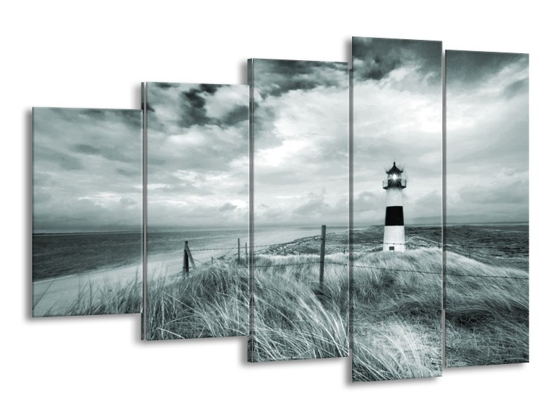 Canvas Schilderij Vuurtoren | Grijs, Groen | 150x100cm 5Luik