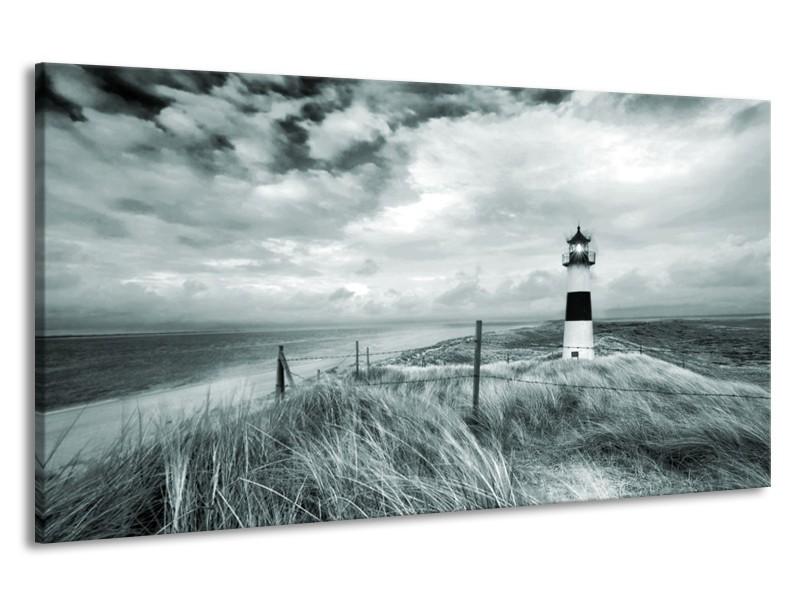 Canvas Schilderij Vuurtoren | Grijs, Groen | 190x100cm 1Luik