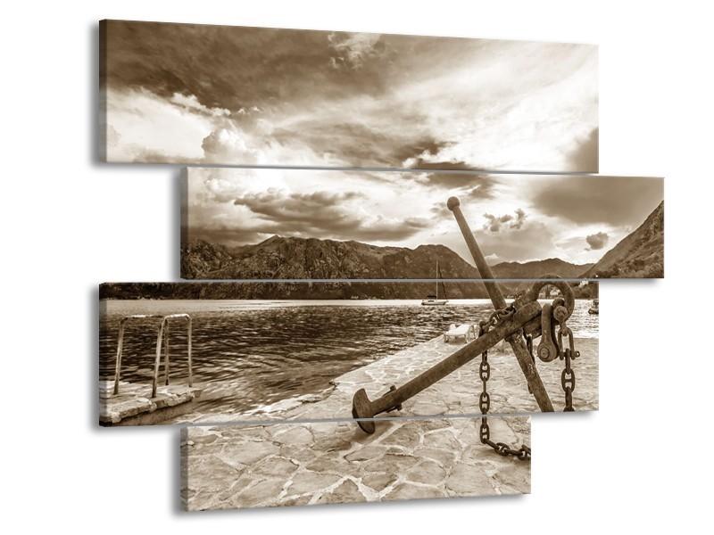 Canvas Schilderij Anker | Sepia | 115x85cm 4Luik