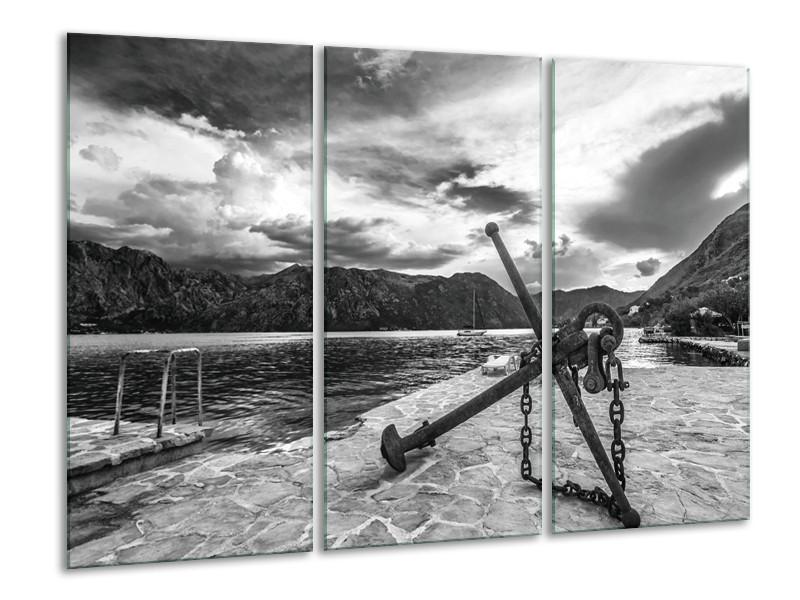 Canvas Schilderij Anker | Grijs, Zwart, Wit | 120x80cm 3Luik