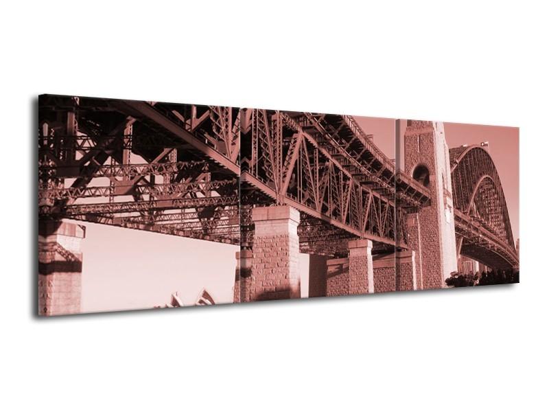 Glasschilderij Steden | Bruin, Rood | 120x40cm 3Luik