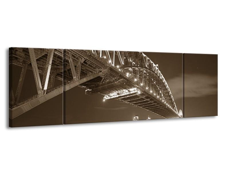 Glasschilderij Steden, Brug | Sepia | 170x50cm 3Luik
