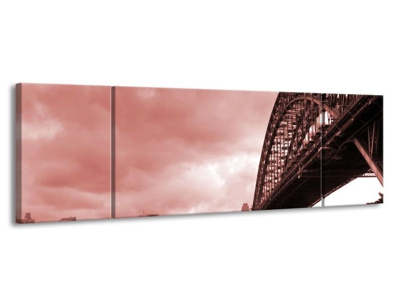 Glasschilderij Steden, Brug | Bruin, Rood | 170x50cm 3Luik