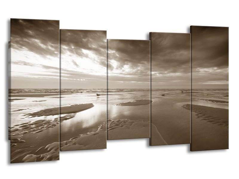 Canvas Schilderij Zee | Sepia | 150x80cm 5Luik