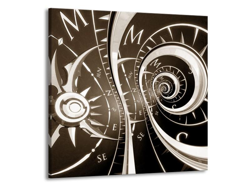 Glasschilderij Abstract | Sepia, Bruin | 50x50cm 1Luik