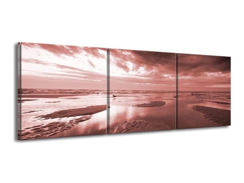 Canvas Schilderij Zee | Bruin, Rood | 150x50cm 3Luik