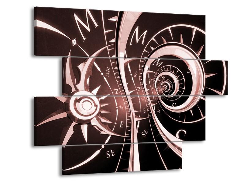 Canvas Schilderij Abstract   Bruin, Rood   115x85cm 4Luik