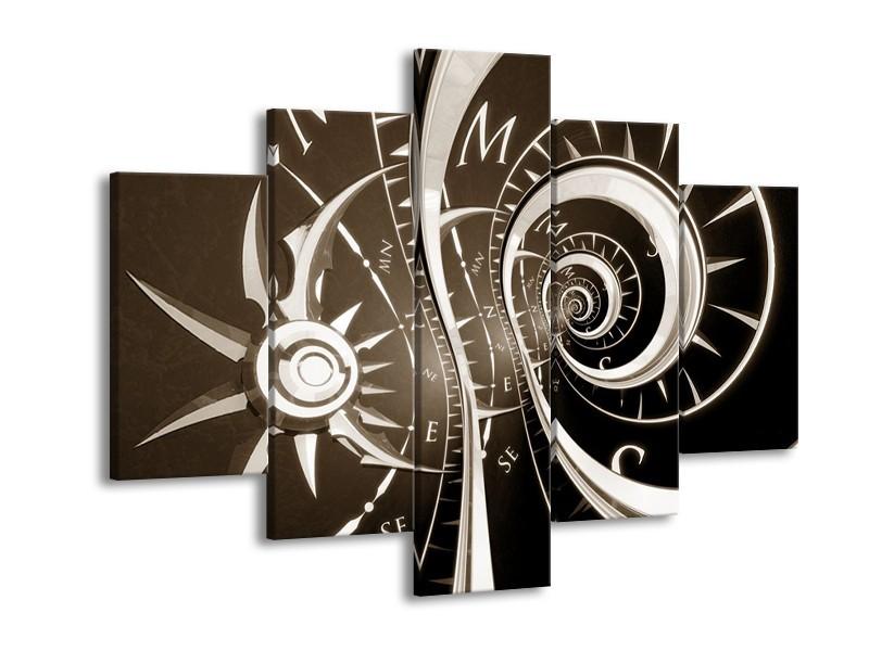 Canvas Schilderij Abstract   Sepia, Bruin   150x105cm 5Luik