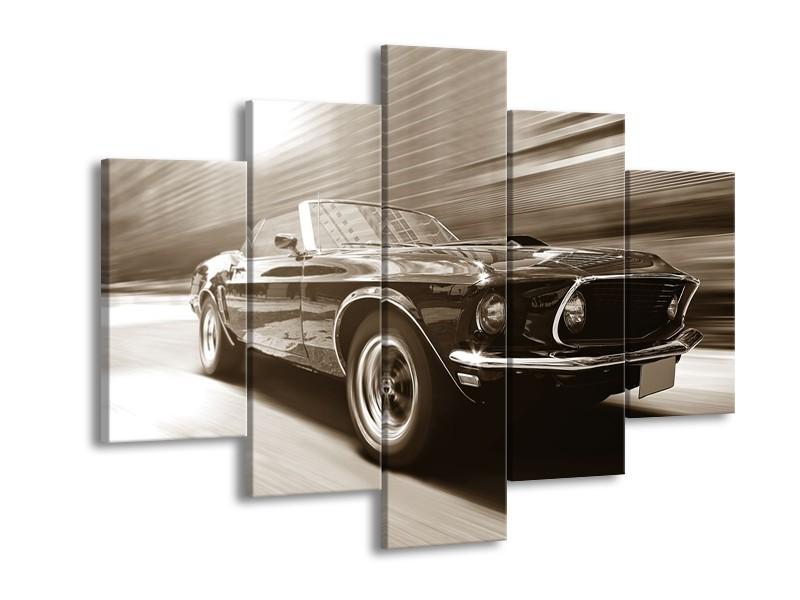 Canvas Schilderij Auto, Mustang | Sepia | 150x105cm 5Luik
