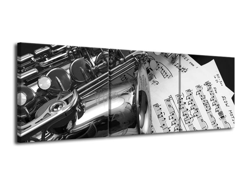 Canvas Schilderij Muziek | Grijs, Zilver | 120x40cm 3Luik