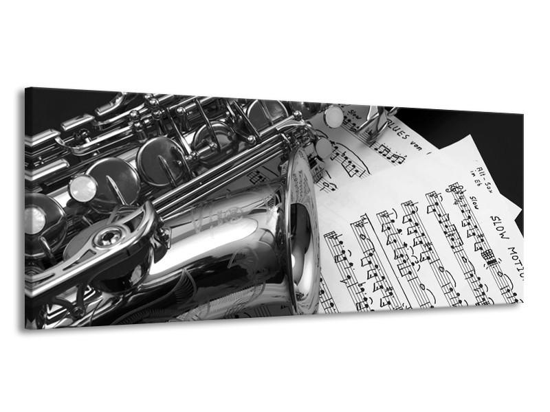 Canvas Schilderij Muziek | Grijs, Zilver | 145x58cm 1Luik