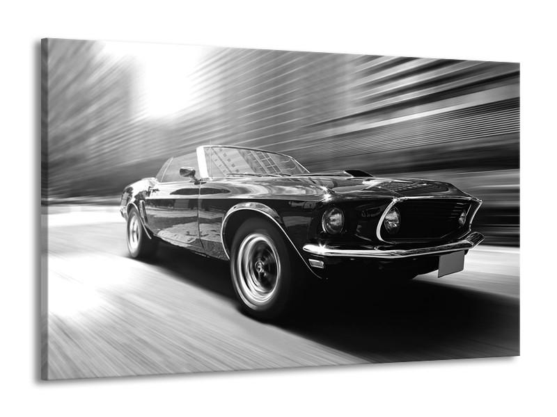 Canvas Schilderij Auto, Mustang | Zwart, Grijs | 140x90cm 1Luik