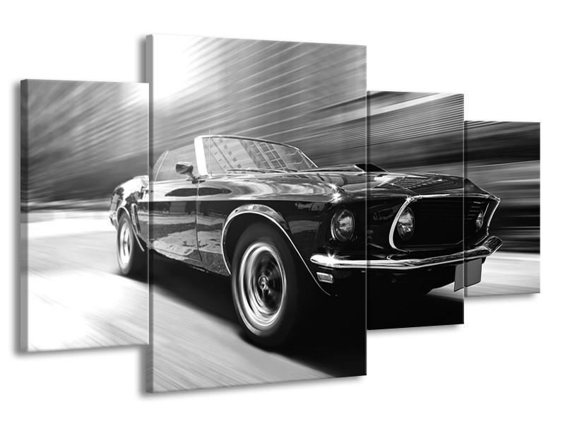 Canvas Schilderij Auto, Mustang | Zwart, Grijs | 160x90cm 4Luik
