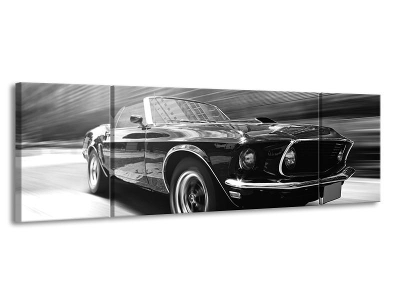 Canvas Schilderij Auto, Mustang | Zwart, Grijs | 170x50cm 3Luik