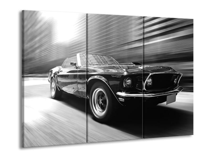 Canvas Schilderij Auto, Mustang | Zwart, Grijs | 60x90cm 3Luik