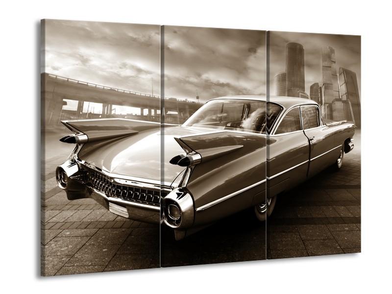 Canvas Schilderij Auto | Sepia | 60x90cm 3Luik