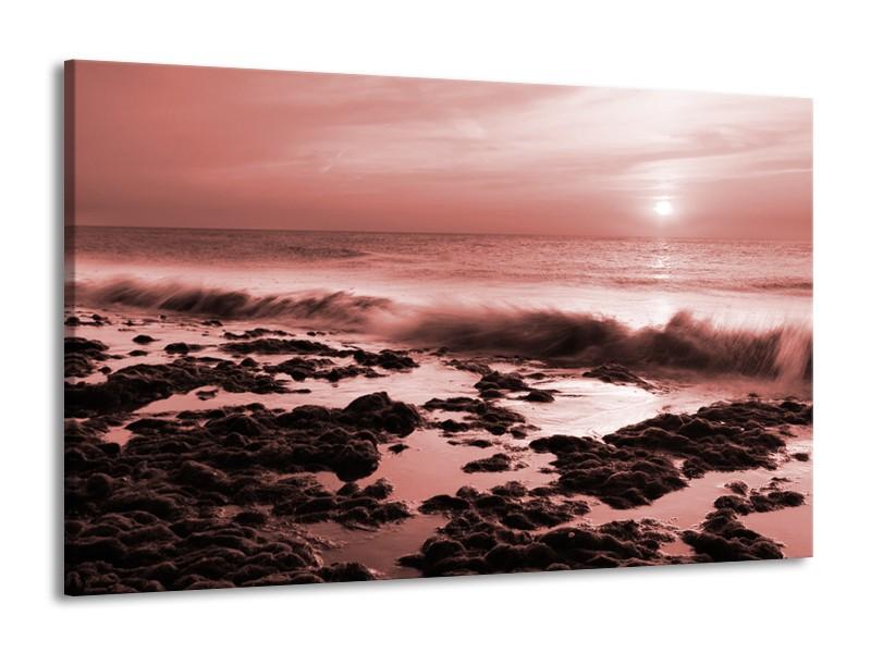 Canvas Schilderij Zee, Strand | Bruin, Rood | 140x90cm 1Luik