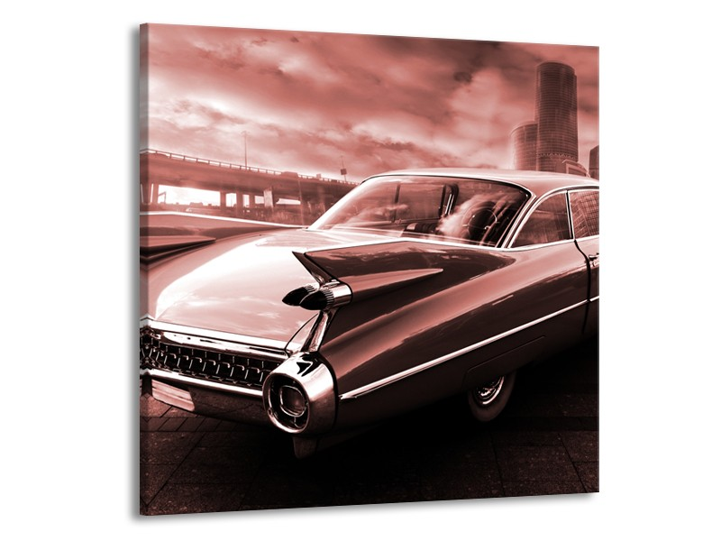 Canvas Schilderij Auto, Oldtimer | Bruin, Rood | 50x50cm 1Luik
