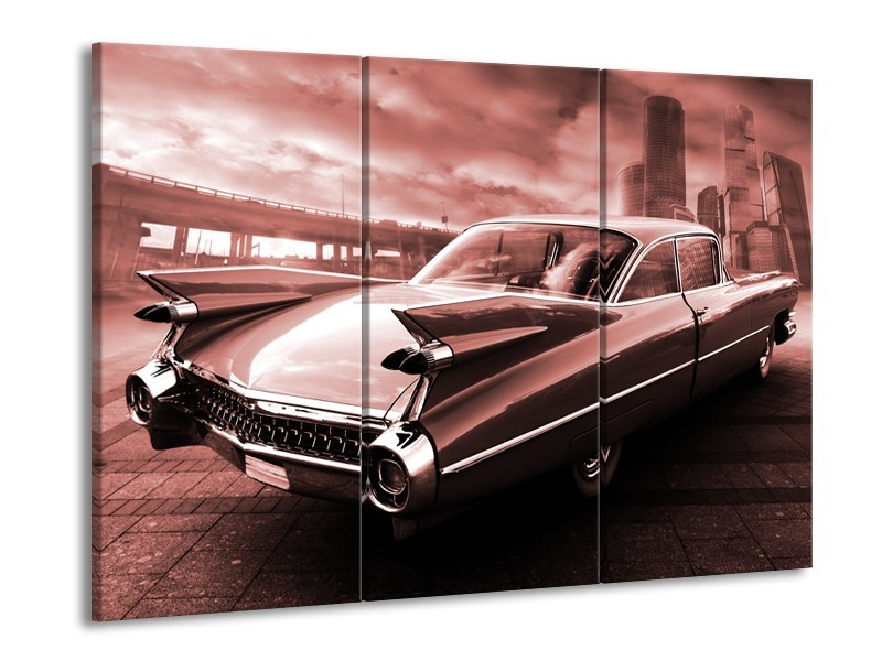 Canvas Schilderij Auto, Oldtimer | Bruin, Rood | 60x90cm 3Luik