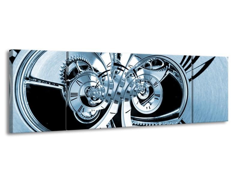 Glasschilderij Abstract | Blauw | 170x50cm 3Luik