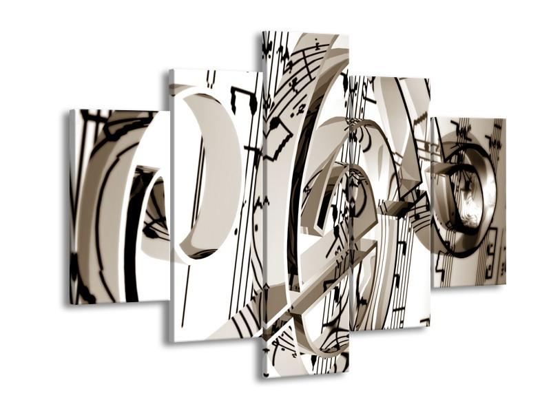 Glasschilderij Muziek   Sepia   150x105cm 5Luik