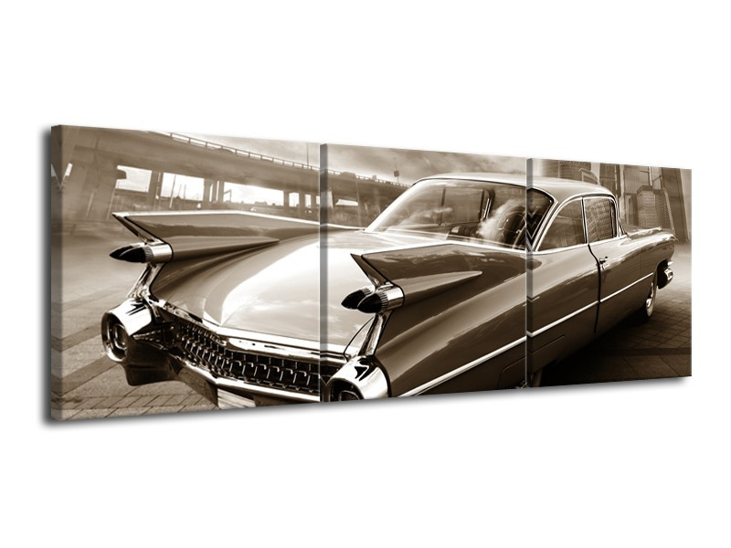 Canvas Schilderij Auto, Oldtimer | Sepia | 120x40cm 3Luik