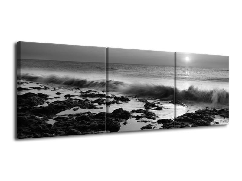 Canvas Schilderij Zee, Strand | Zwart, Grijs | 120x40cm 3Luik