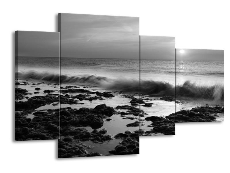 Canvas Schilderij Zee, Strand | Zwart, Grijs | 120x75cm 4Luik