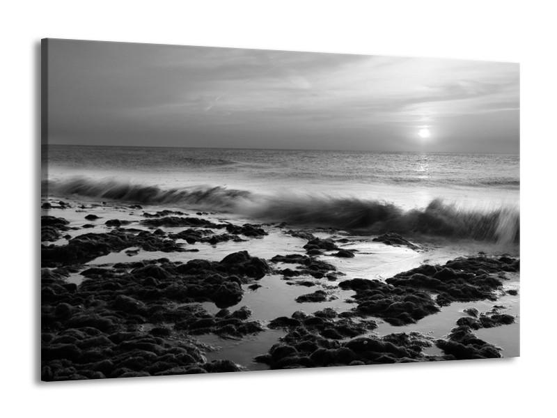 Canvas Schilderij Zee, Strand | Zwart, Grijs | 140x90cm 1Luik