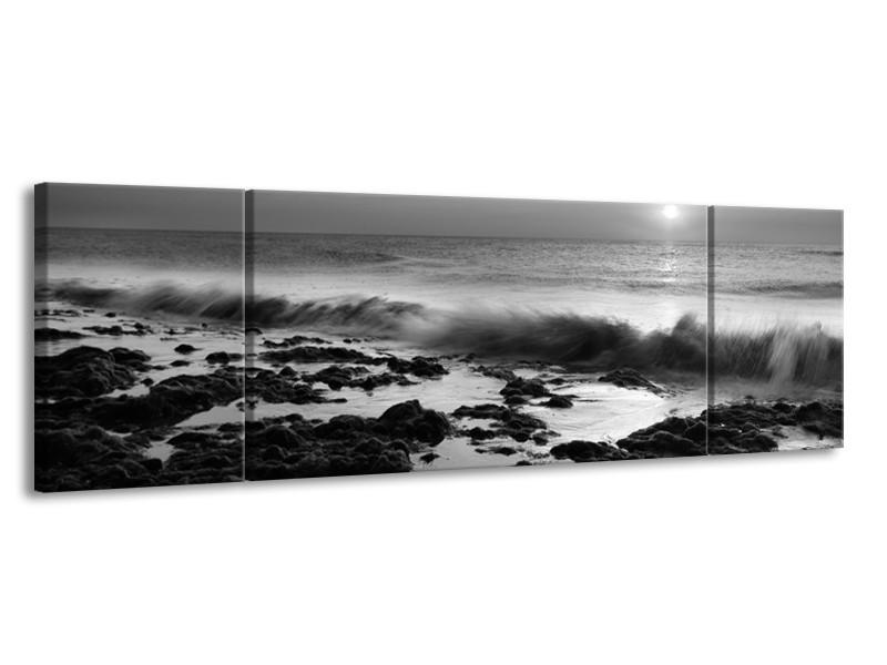Canvas Schilderij Zee, Strand | Zwart, Grijs | 170x50cm 3Luik