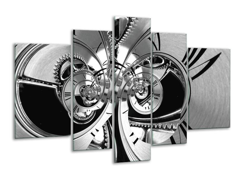Canvas Schilderij Abstract   Zwart, Wit, Grijs   170x100cm 5Luik