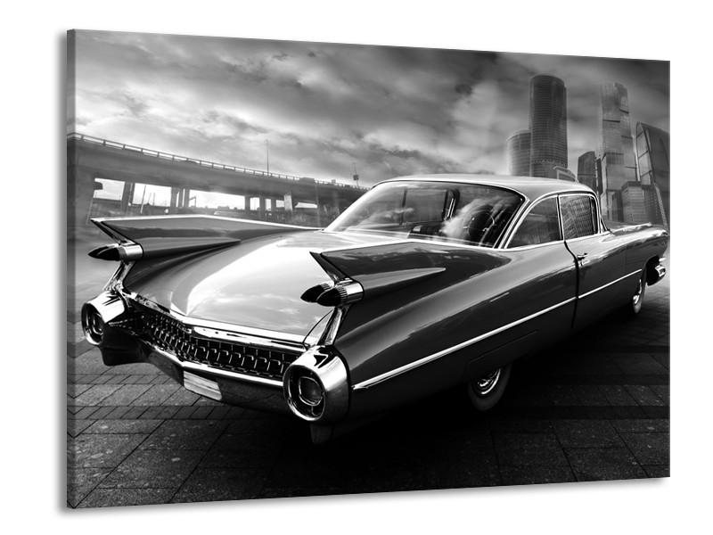 Canvas Schilderij Auto, Oldtimer | Zwart, Grijs | 100x70cm 1Luik