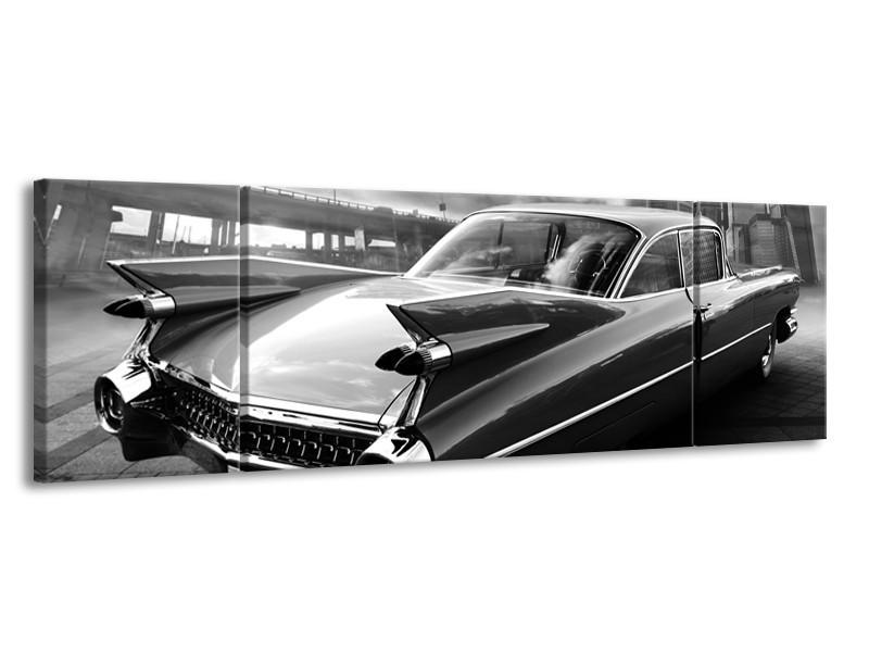 Canvas Schilderij Auto, Oldtimer | Zwart, Grijs | 170x50cm 3Luik