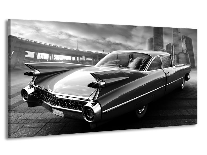 Canvas Schilderij Auto, Oldtimer | Zwart, Grijs | 170x90cm 1Luik