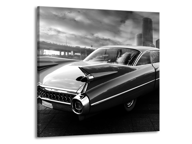 Canvas Schilderij Auto, Oldtimer | Zwart, Grijs | 70x70cm 1Luik