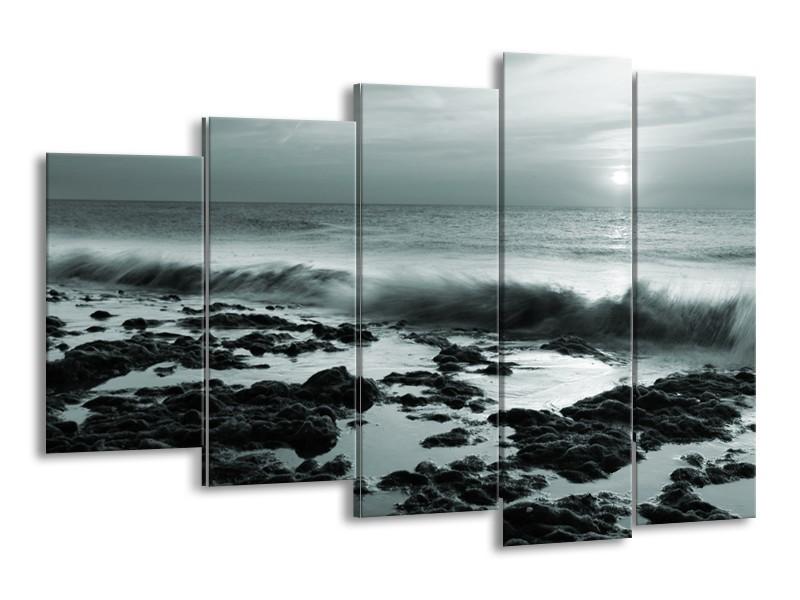 Canvas Schilderij Zee, Strand | Grijs, Groen | 150x100cm 5Luik