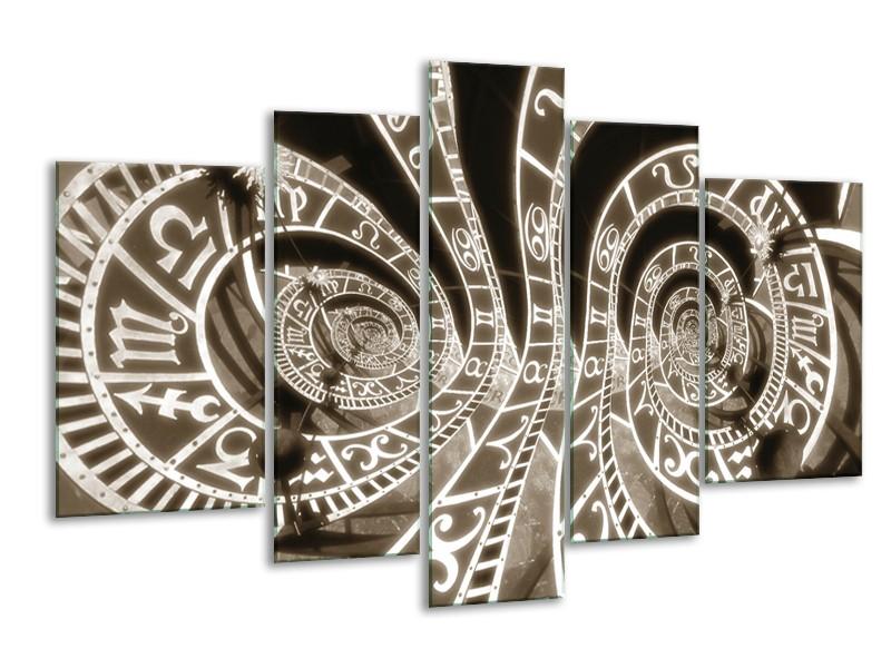Glasschilderij Abstract | Sepia | 170x100cm 5Luik