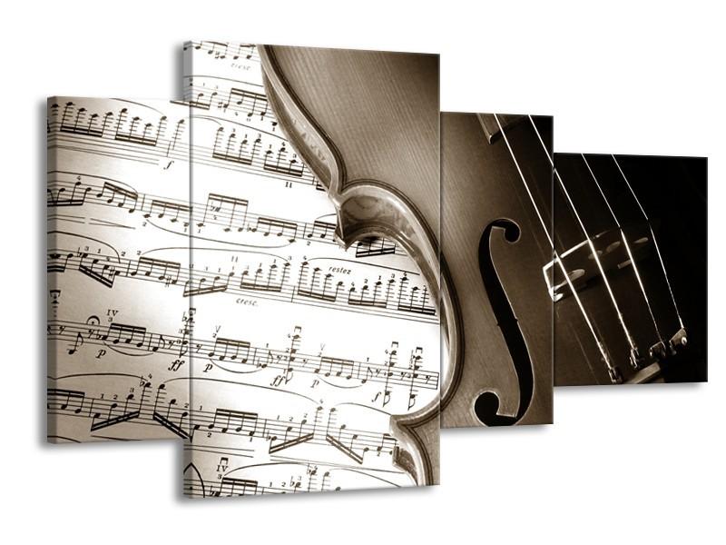Glasschilderij Muziek   Sepia   120x75cm 4Luik