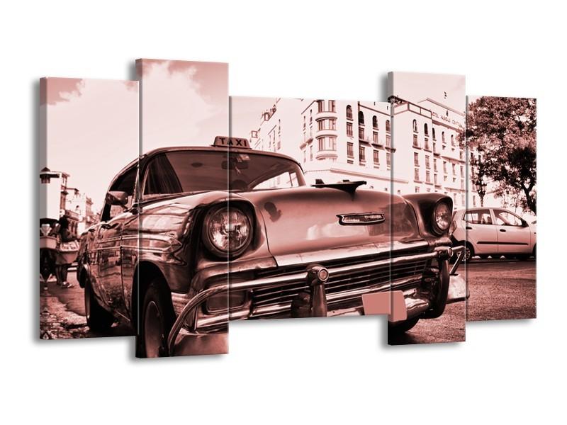 Canvas Schilderij Auto, Oldtimer | Bruin, Rood | 120x65cm 5Luik