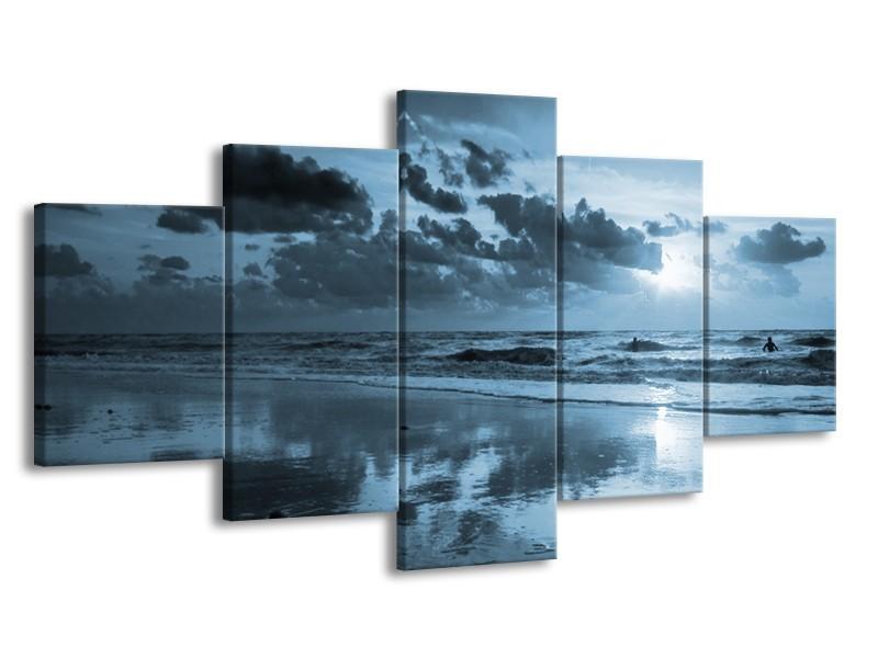 Canvas Schilderij Zee | Blauw | 150x80cm 5Luik