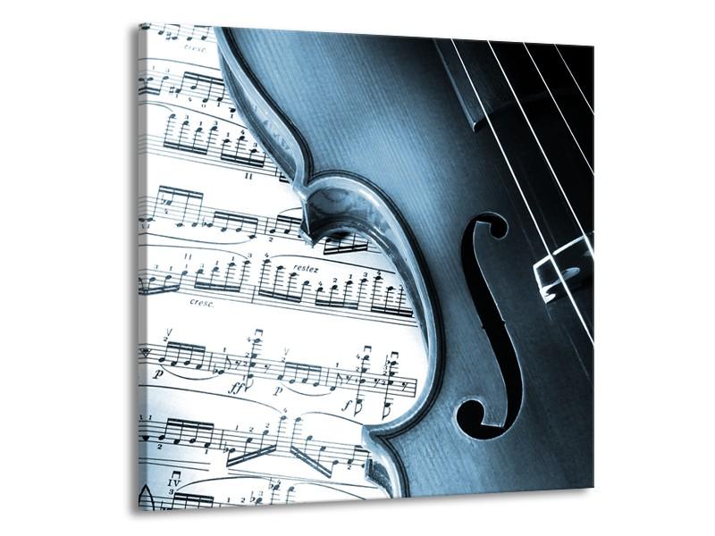 Glasschilderij Muziek   Blauw, Grijs, Wit   50x50cm 1Luik