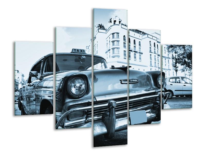 Canvas Schilderij Auto, Oldtimer | Blauw | 100x70cm 5Luik