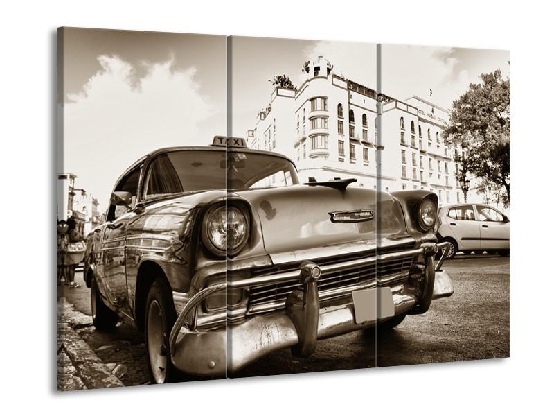 Canvas Schilderij Auto, Oldtimer | Sepia | 60x90cm 3Luik
