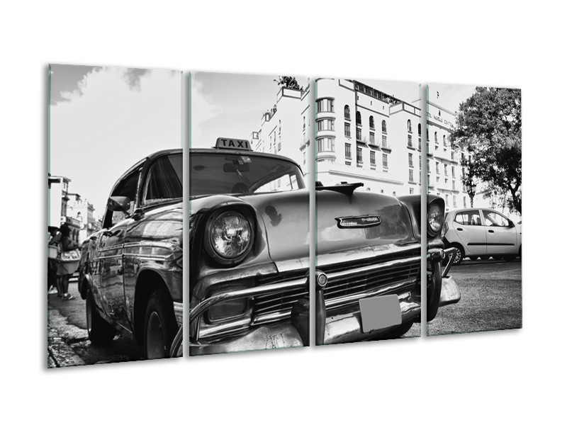 Glasschilderij Auto, Oldtimer   Zwart, Grijs, Wit   160x80cm 4Luik