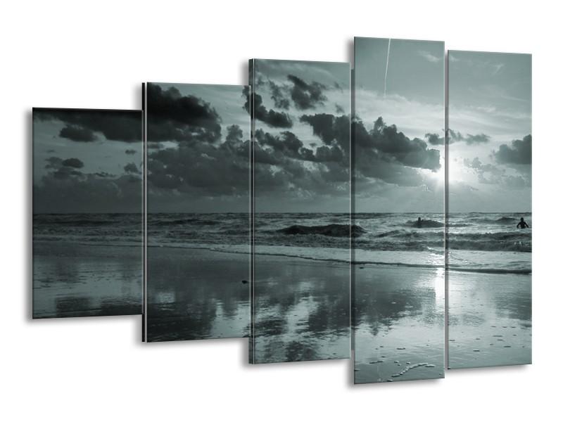 Canvas Schilderij Zee | Grijs, Groen | 150x100cm 5Luik